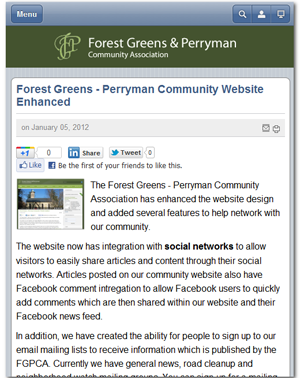 Forest Greens - Perryman home page on iPhone